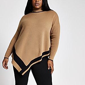 RI Plus - Beige hoogsluitende cape pullover