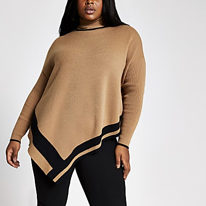 Plus beige high neck cape jumper