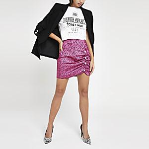 Pink spot print mini skirt