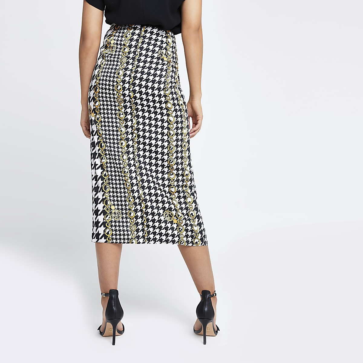 1301d2b1f Black check chain ruched midi skirt - Midi Skirts - Skirts - women