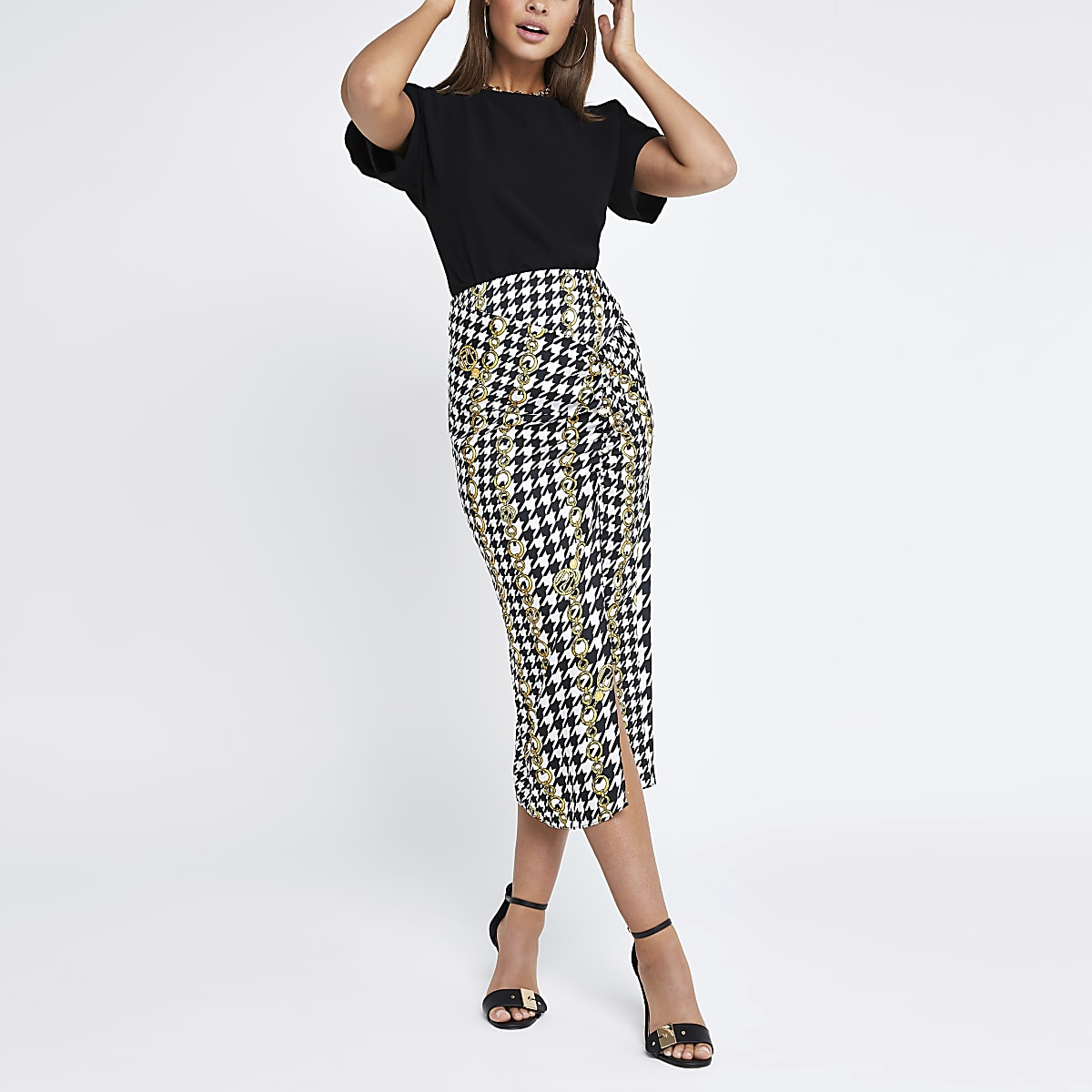 Black check chain ruched midi skirt