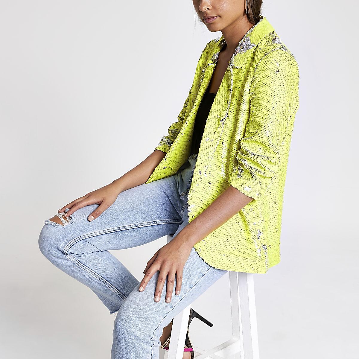 Neon yellow sequin blazer