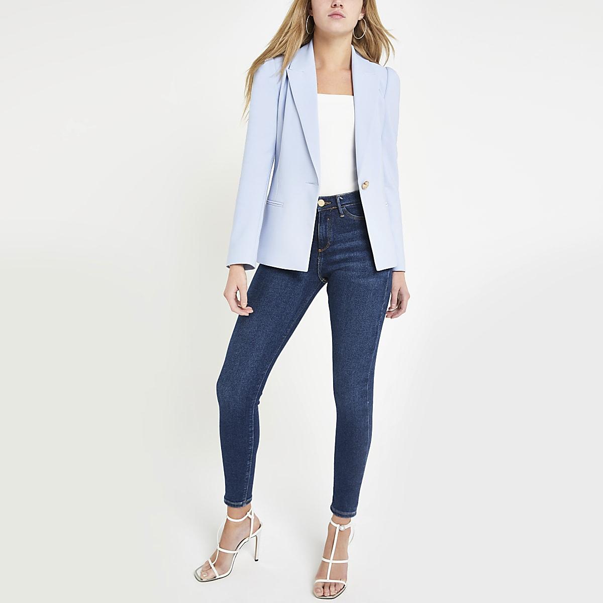 Light blue puff sleeve blazer