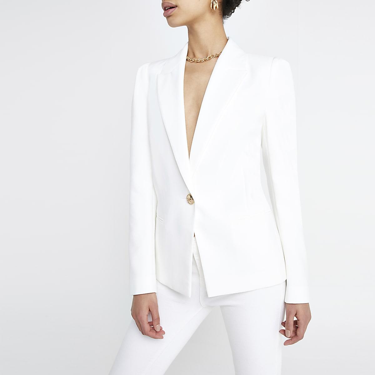White puff sleeve blazer