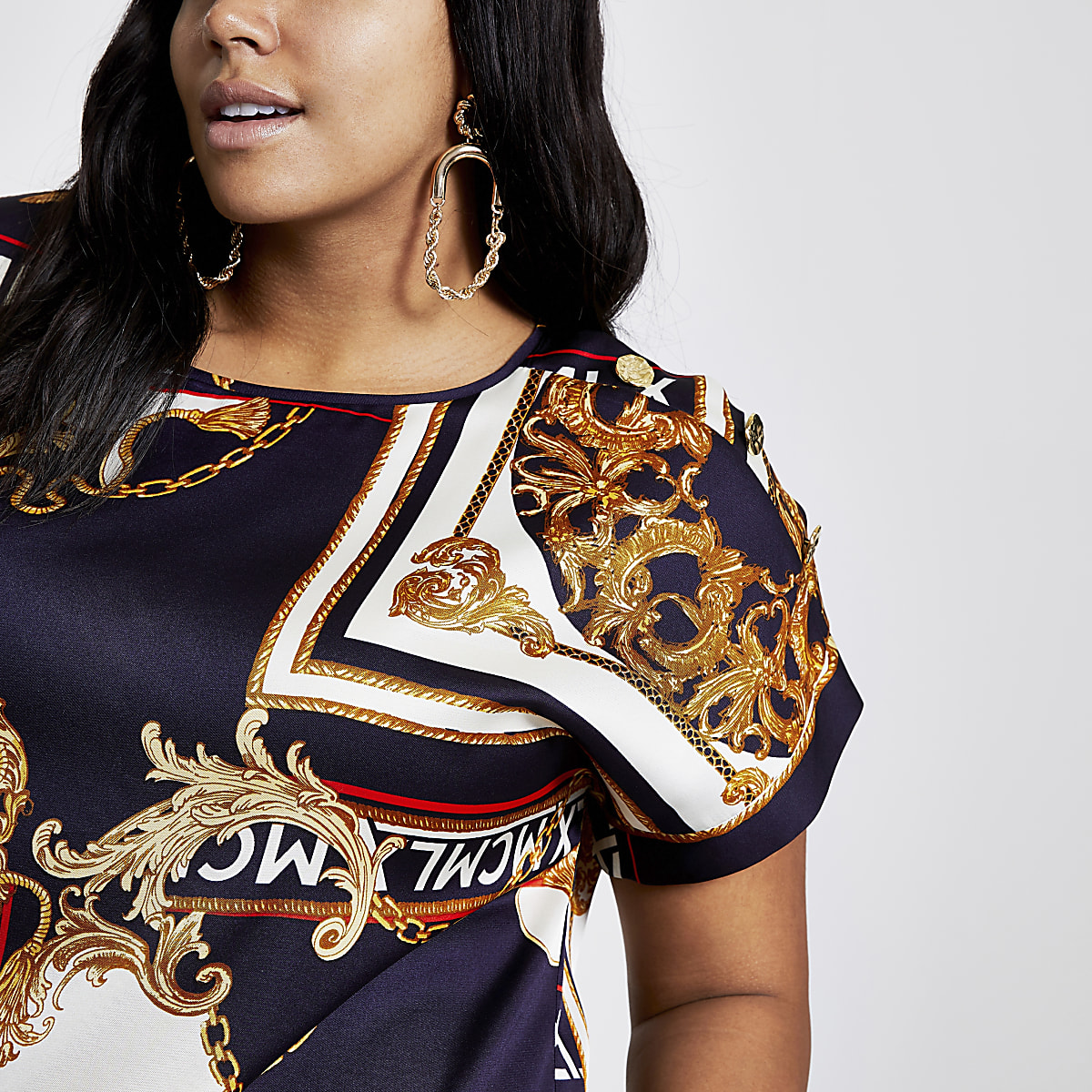 Plus navy chain print T-shirt
