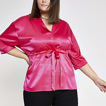 Plus pink tie waist top