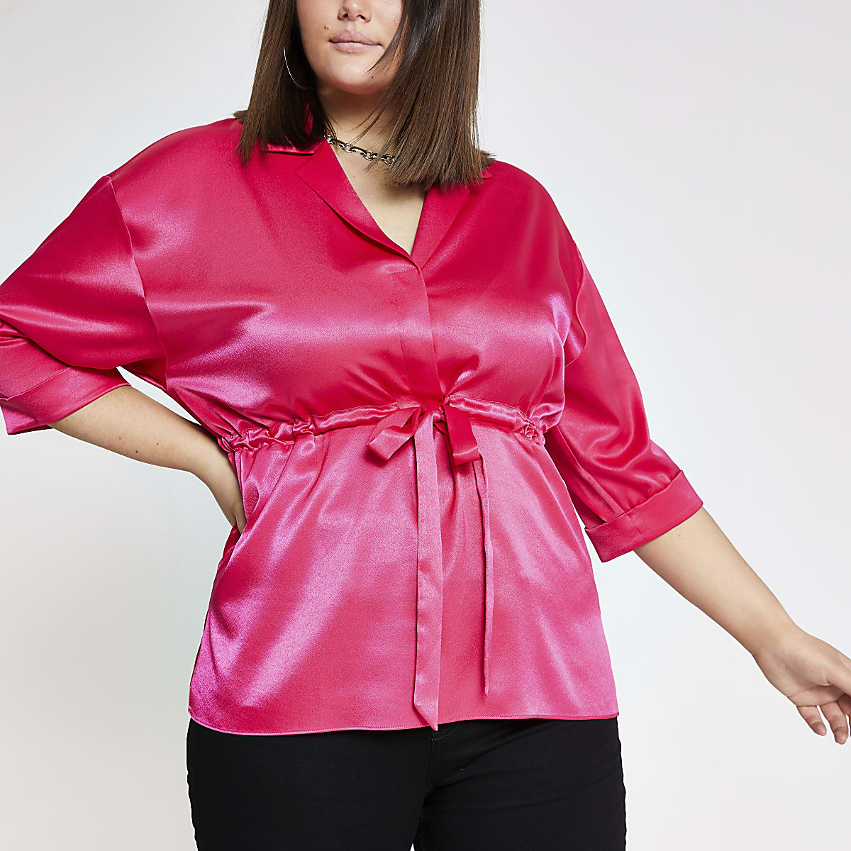 Plus pink tie waist top