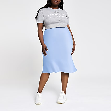 Plus blue bias cut midi skirt