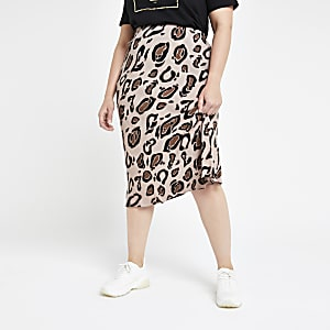 Plus brown leopard print bias cut midi skirt