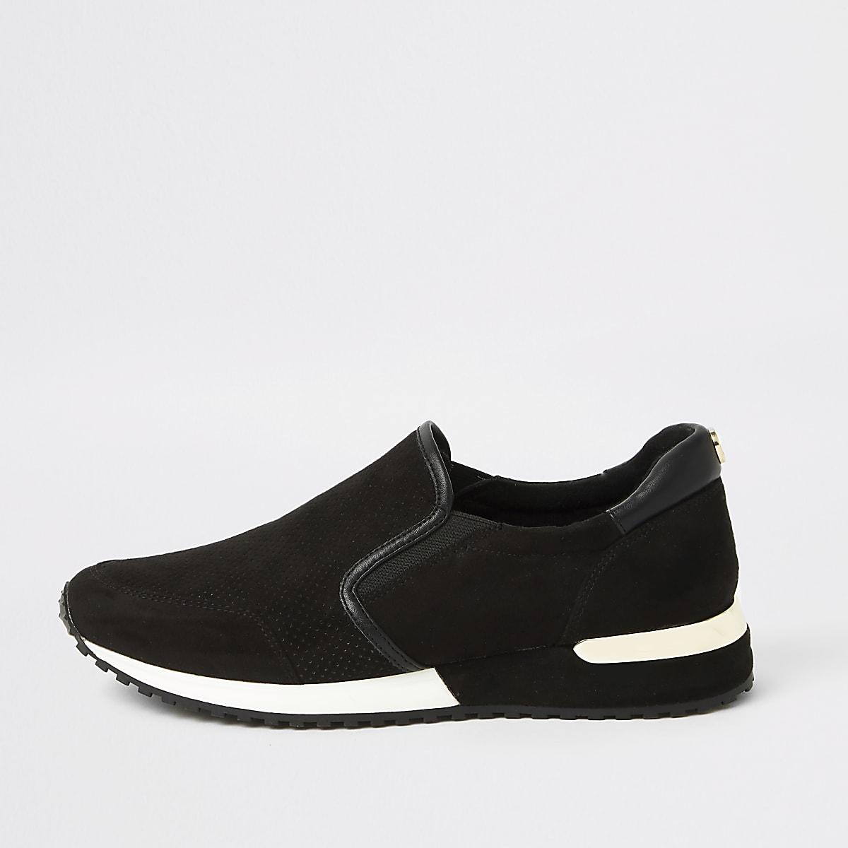 Black perforated runner sneakers