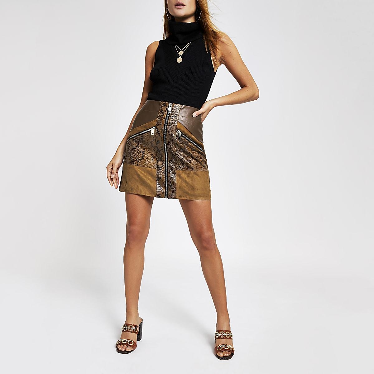 c7b826569f Brown snake print faux leather mini skirt - Mini Skirts - Skirts - women