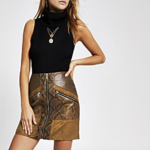 Brown snake print faux leather mini skirt