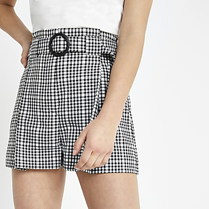 Petite black check belted shorts