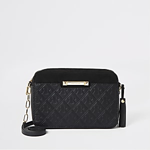Black RI monogram cross body bag