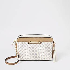 Dark beige RI monogram cross body bag