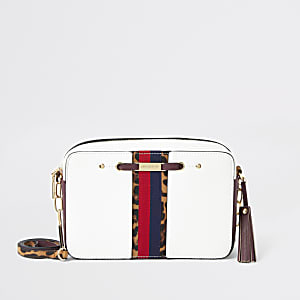 White stripe front boxy cross body bag