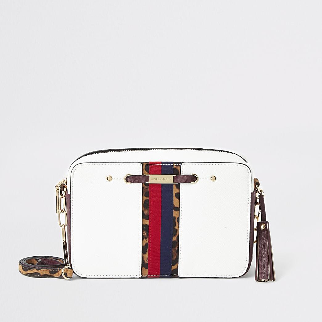 White stripe front boxy cross body bag