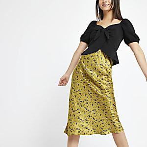 Petite – Jupe mi-longue à fleurs jaune coupée en biais