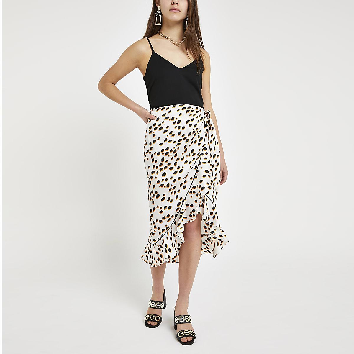Petite white spot ruffle midi skirt