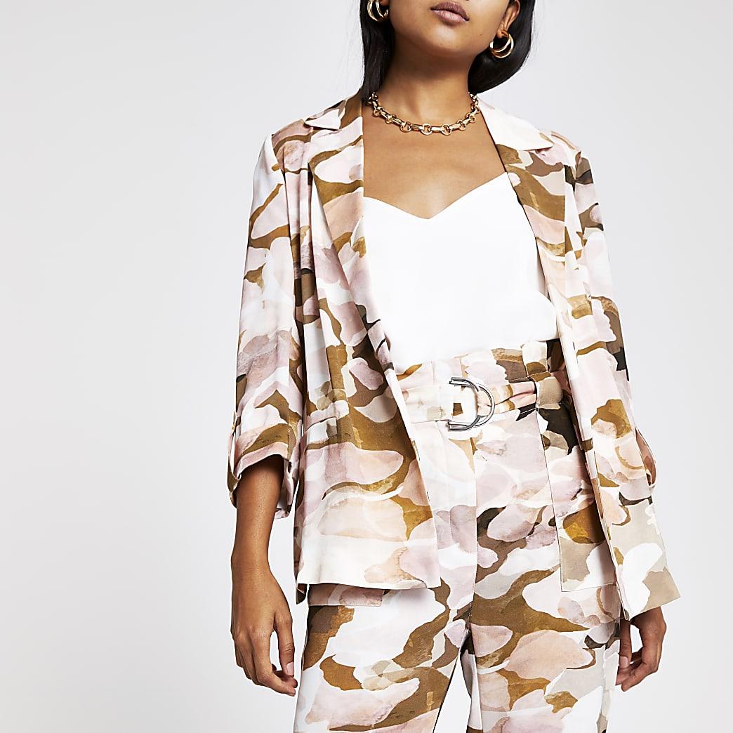 Petite pink camo blazer
