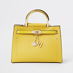 Yellow padlock tote bag