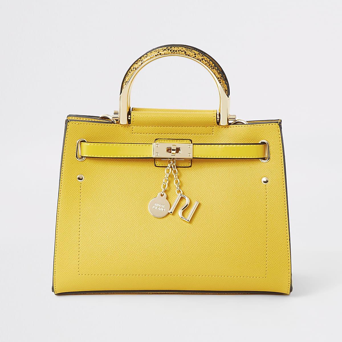 Yellow padlock tote bag