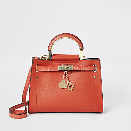 Bright red padlock tote bag