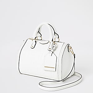 White cross body bowler bag