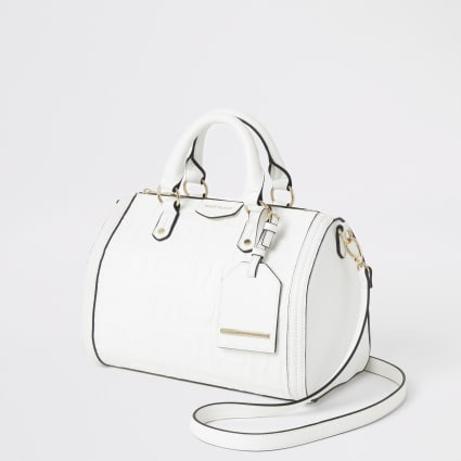 White cross body bowler bag
