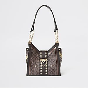 Dark brown RI monogram studded bag