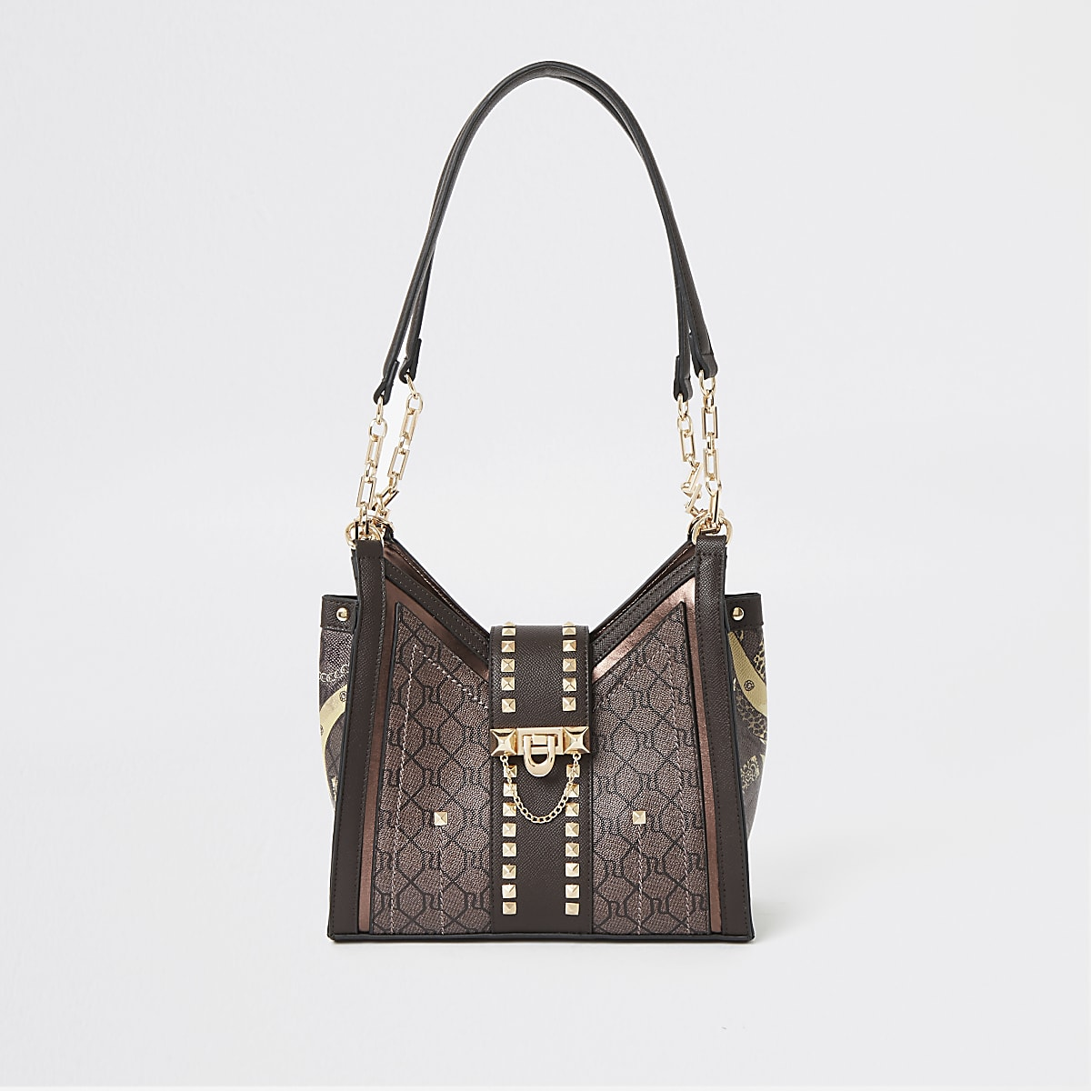 Dark brown RI monogram studded bag