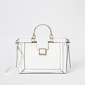 Weiße Tote Bag mit Metallgriff
