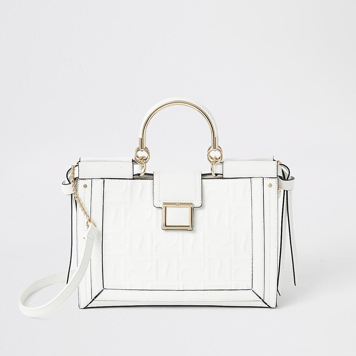 White RI monogram metal handle tote bag