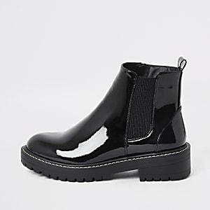 Zwarte stevige lakleren laarzen