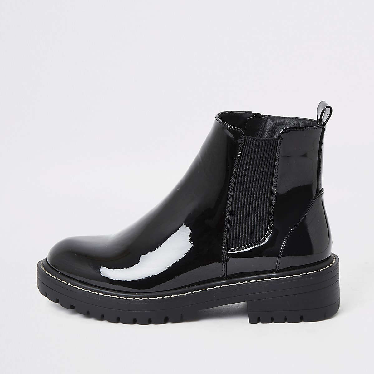 Black chunky patent boot