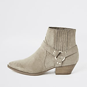 Beige western buckle boots