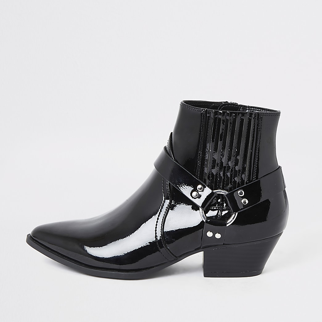 Black patent western buckle boots