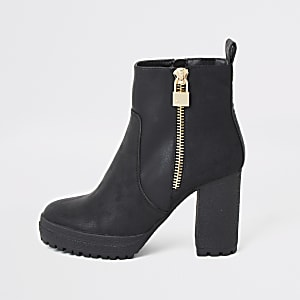 Black faux leather chunky heel ankle boots