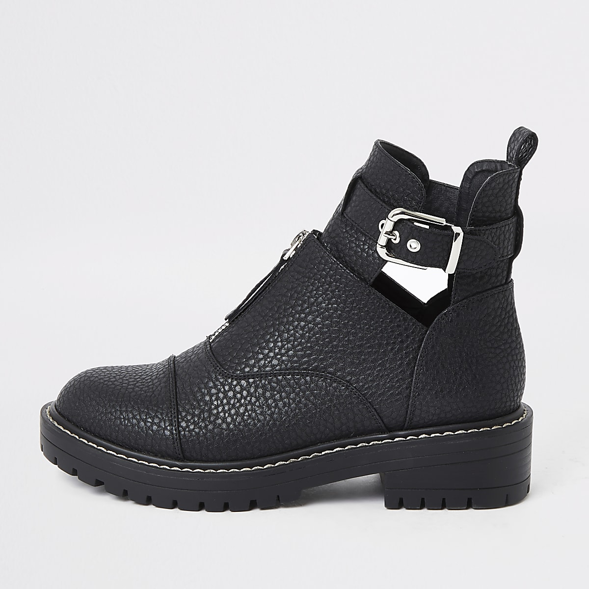 Black cut out chunky buckle boots