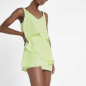 Combi-short vert citron à volants superposés