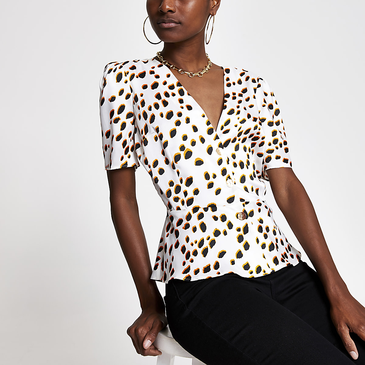 White spot print tea top