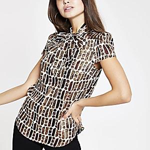 Braune Bluse mit RI-Print