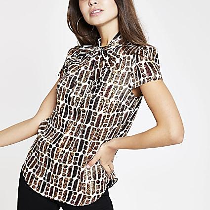 Brown RI print tie neck blouse