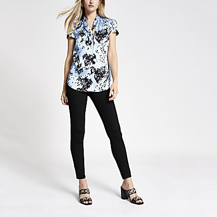 Blue printed tie neck blouse