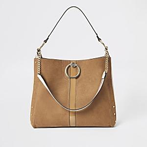 Donkerbeige oversized tas met ring voorop