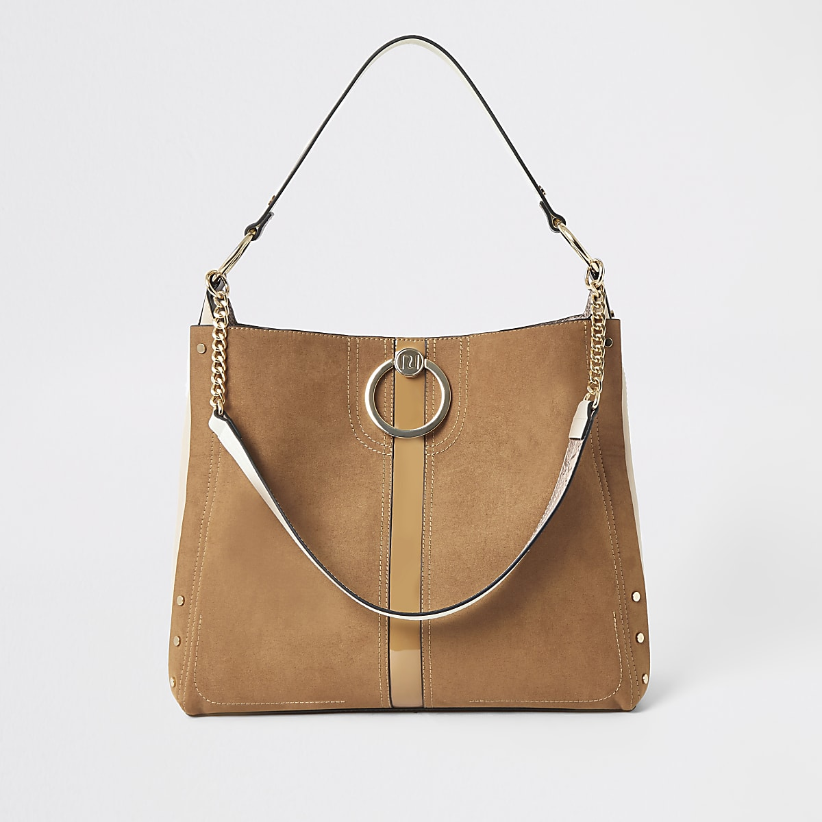 Dark beige oversized ring front slouch bag