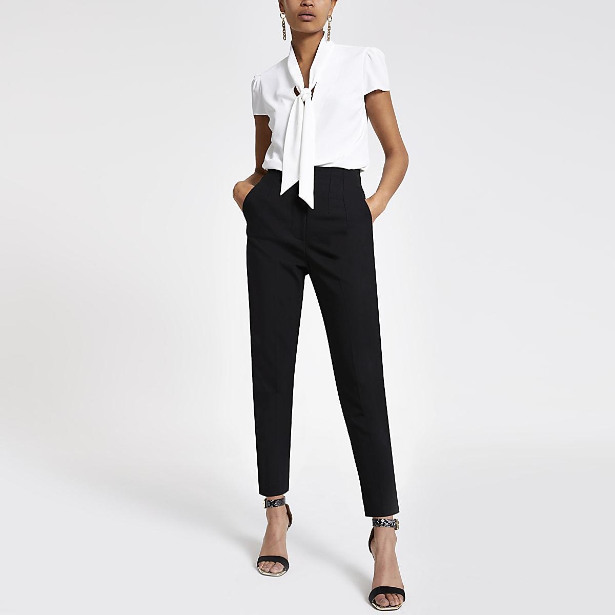 Cream tie neck short sleeve blouse