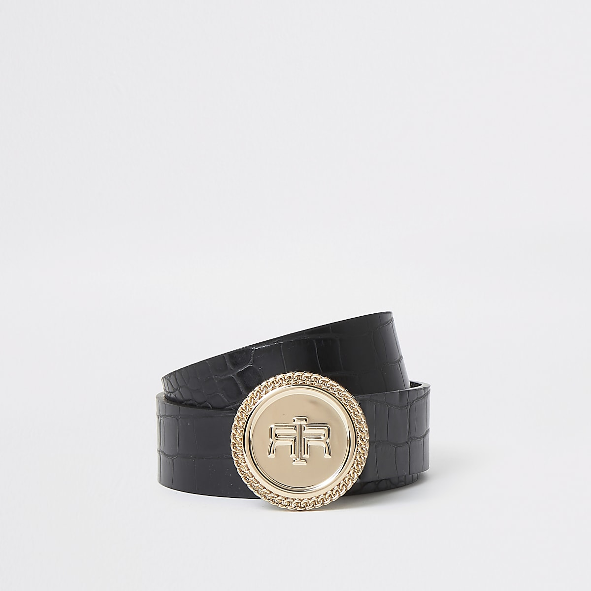 Black croc RI circle buckle belt