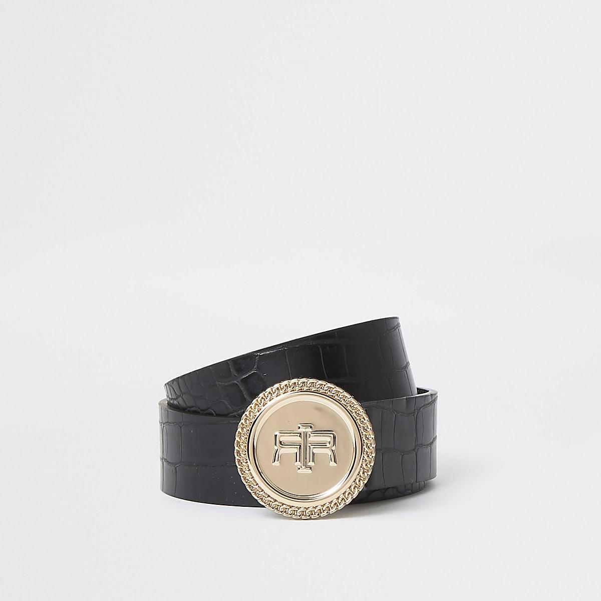 Zwarte riem met krokodillenprint, RI-logo en cirkelvormige gesp