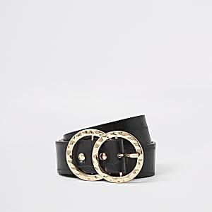 Zwarte riem met ringvormige gesp en krokodillenprint in reliëf
